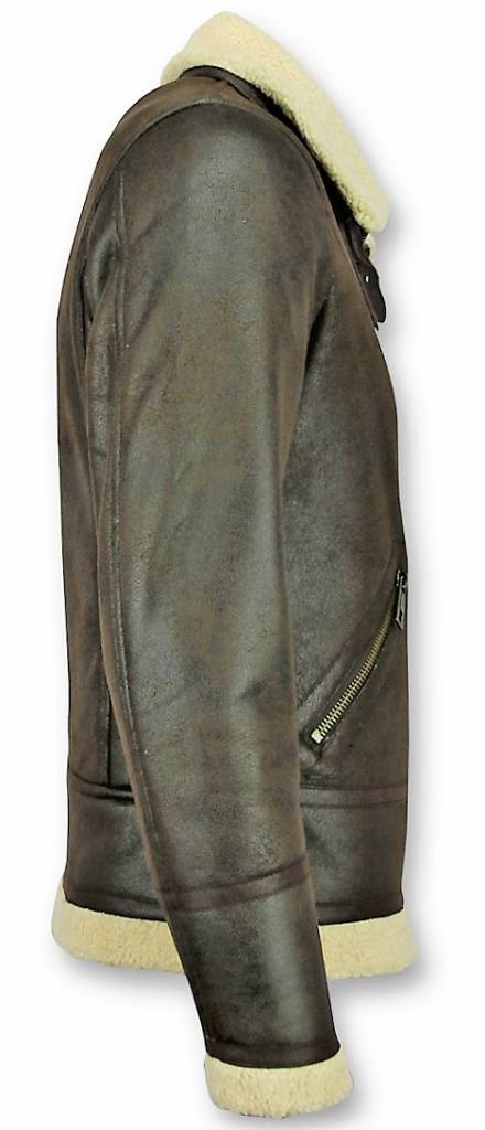 Warren Webber Lammy Coat Heren - Imitatie Bontjas - Fake Fur jas - Bruin