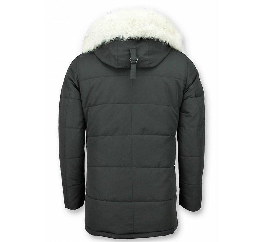 Winterjas Heren met  Imitatie Witte Bontkraag -  Zwart