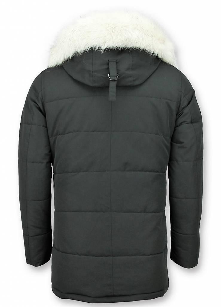 Just Key Winterjas Heren - Parka jas -Jas Imitatiebont - Witte Bontjas -  Zwart