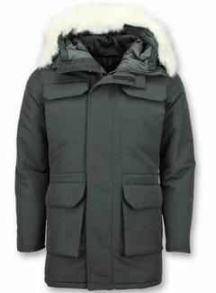 Just Key Parka Heren Winterjas met Imitatie Witte Bont Kraag -  Zwart