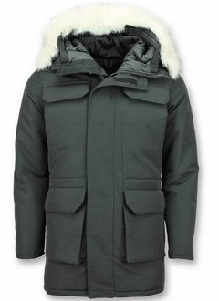 Just Key Winterjas Heren - Parka jas -Jas Imitatiebont - Witte Bontjas - Lange Winterjas - Zwart
