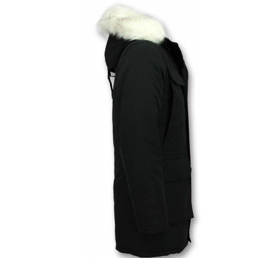Parka Heren Winterjas met Imitatie Witte Bont Kraag -  Zwart