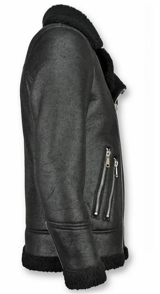 Frilivin Lammy Coat Zwart - Fake Fur jas - Imitatie Bontjas - Zwart