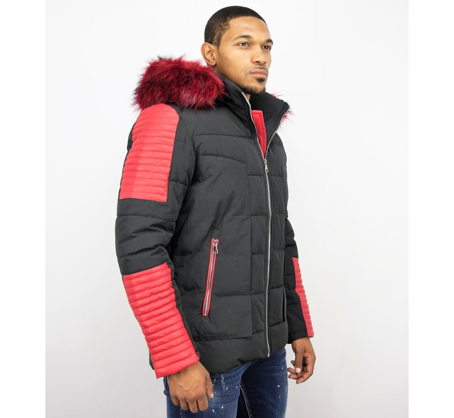 Mannen Winterjas met Rode Bontkraag - Zwart