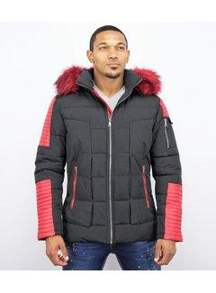 Enos Mannen Winterjas met Rode Bontkraag - Zwart