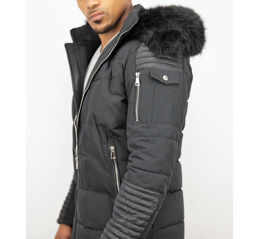 Heren Winterjas met Zwarte Bontkraag - Zwart
