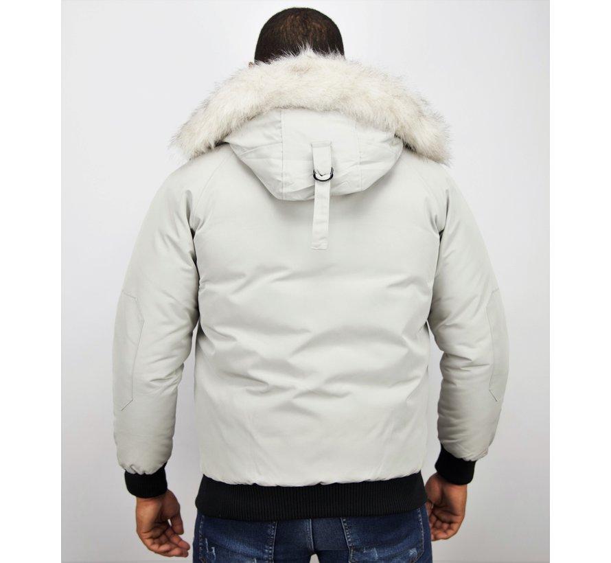 Korte Heren Winterjas met Witte bontkraag - Wit
