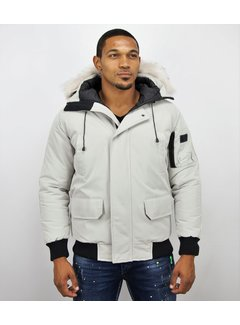 Just Key Korte Heren Winterjas met Witte bontkraag - Wit