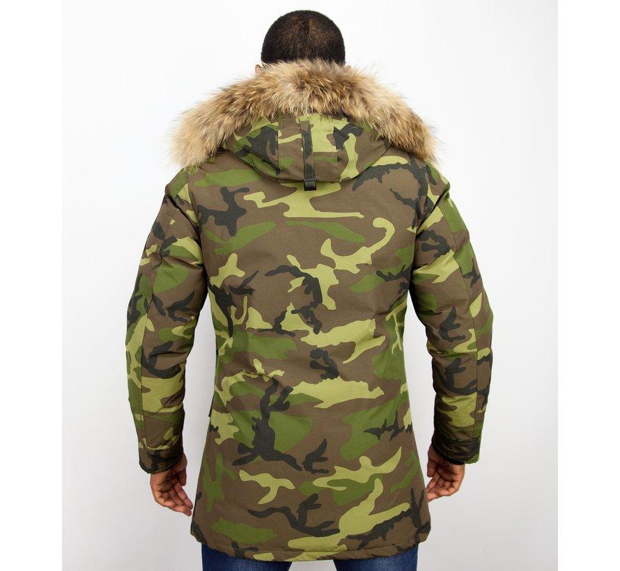Heren Winterjas Lang - Camouflage Parka - Groen