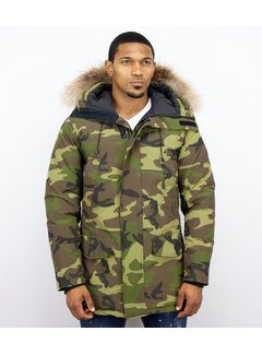 Y chromosome Heren Winterjas Lang - Camouflage Parka - Groen