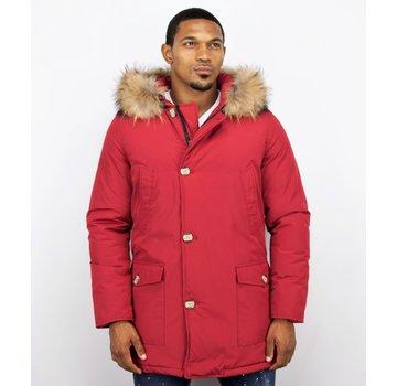 Enos Lange Warme Heren Winterjas  - met Grote Bontkraag - Rood