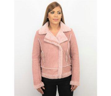 Z-design Bikerjack Dames - Suede Jas - Lammy Coat  - Roze