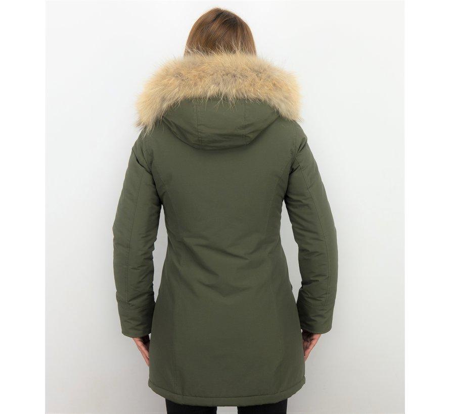 Groene Getailleerde Dames Winterjas  - Met Grote Bontkraag
