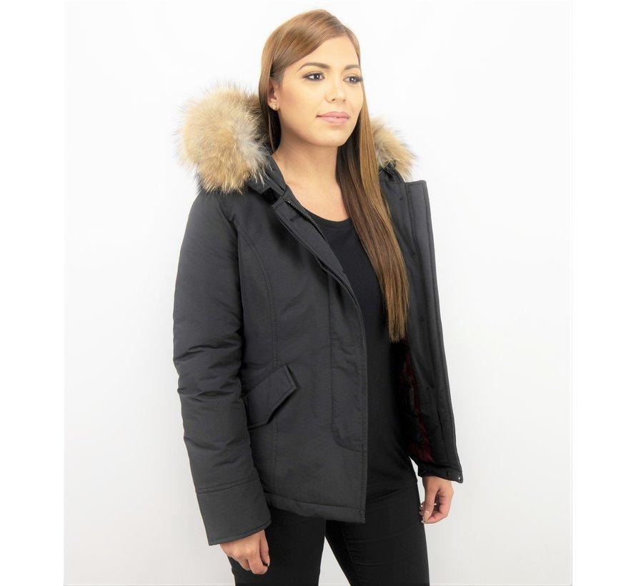 Korte Winterjas Dames - Zwarte Gewatteerde Jas