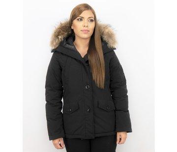 TheBrand Dames Korte Winterjas - Met Grote Bontkraag - Zwart
