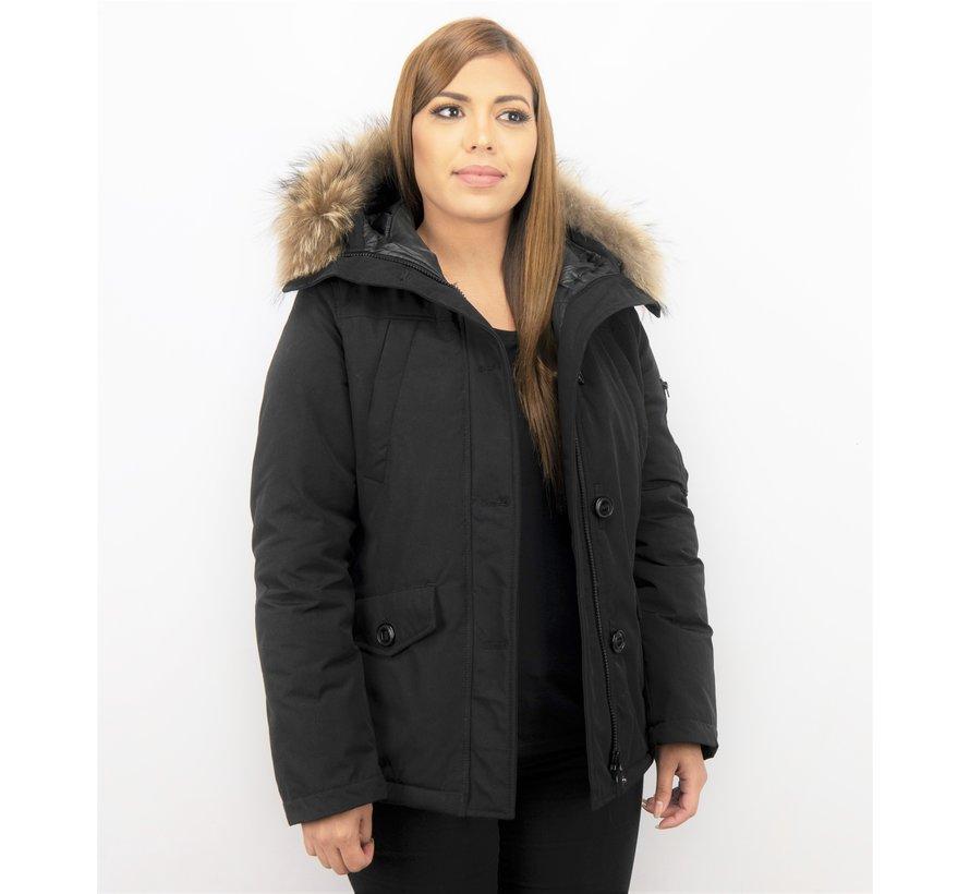 Dames Korte Winterjas - Met Grote Bontkraag - Zwart