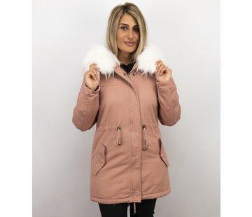Z-design Dames Winterjas - Met Imitatiebont - Army - Pink
