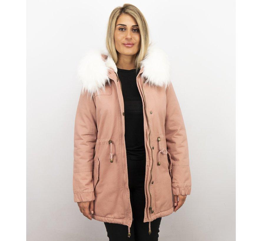 Dames Winterjas - Met Imitatiebont - Army - Pink