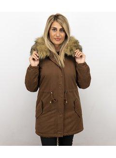 Z-design Vrouwen Winterjas - Met Imitatie bontkraag  - Army - Bruin