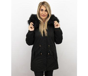 Z-design Zwarte Dames Winterjas - met Imitatie Bontkraag
