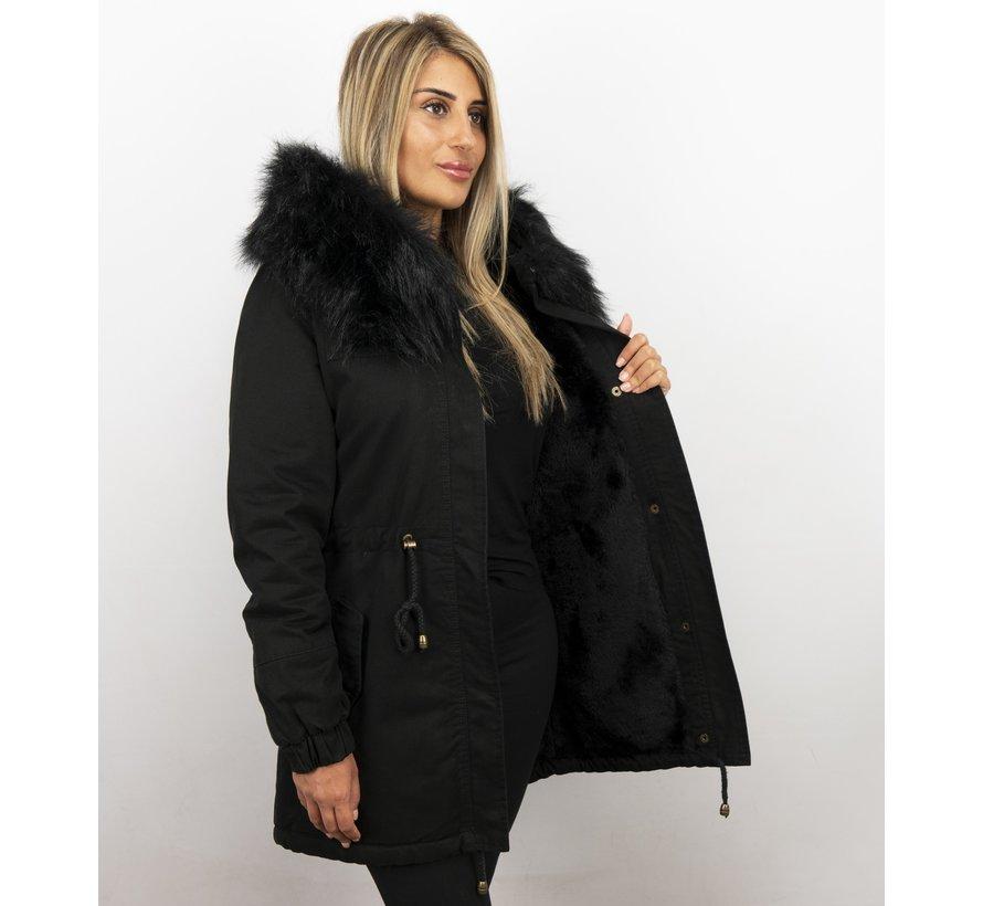 Zwarte Dames Winterjas - met Imitatie Bontkraag