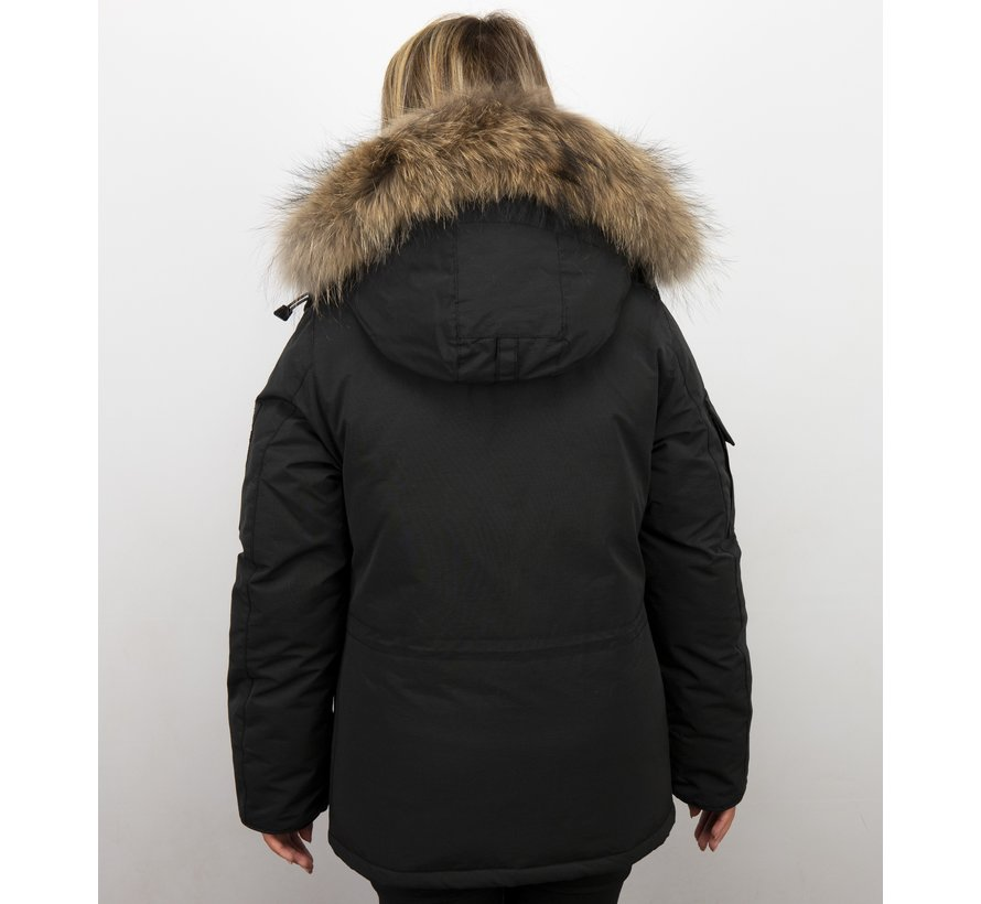 Dames Winterjas Halflang - Parka met Bontkraag - Zwart