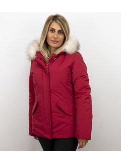 Matogla Getailleerde Winterjas Dames  - Grote Witte Bontkraag - Rood