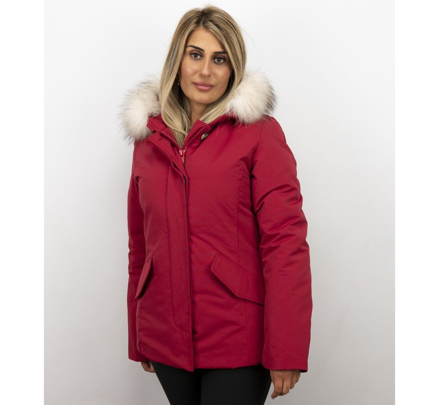 Getailleerde Winterjas Dames  - Grote Witte Bontkraag - Rood
