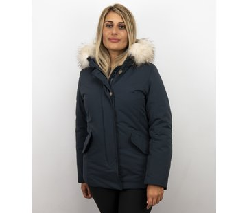 Matogla Korte Dames Winterjas Wooly - Grote Witte Bontkraag - Blauw