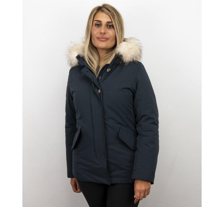 Korte Dames Winterjas Wooly - Grote Witte Bontkraag - Blauw