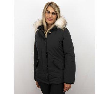 Matogla Dames Winterjas Wooly Kort - Grote Witte Bontkraag - Zwart