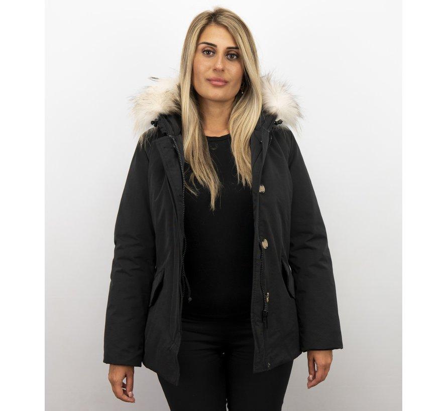 Dames Winterjas Wooly Kort - Grote Witte Bontkraag - Zwart