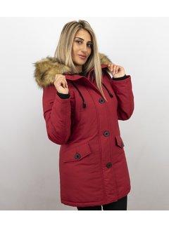 Adrexx Dames Winterjas Middel - Canada Style - Kunstkraag - Rood