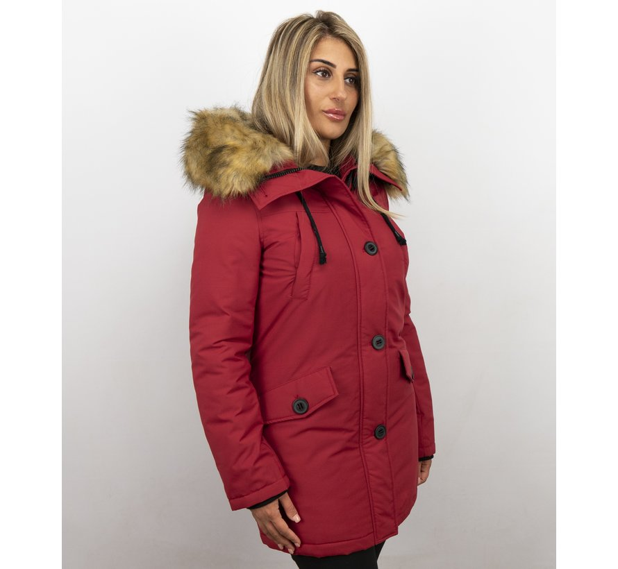 Dames Winterjas Middel - Canada Style - Kunstkraag - Rood