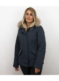 Beluomo Korte Vrouwen Winterjas - Grote BontKraag - Blauw