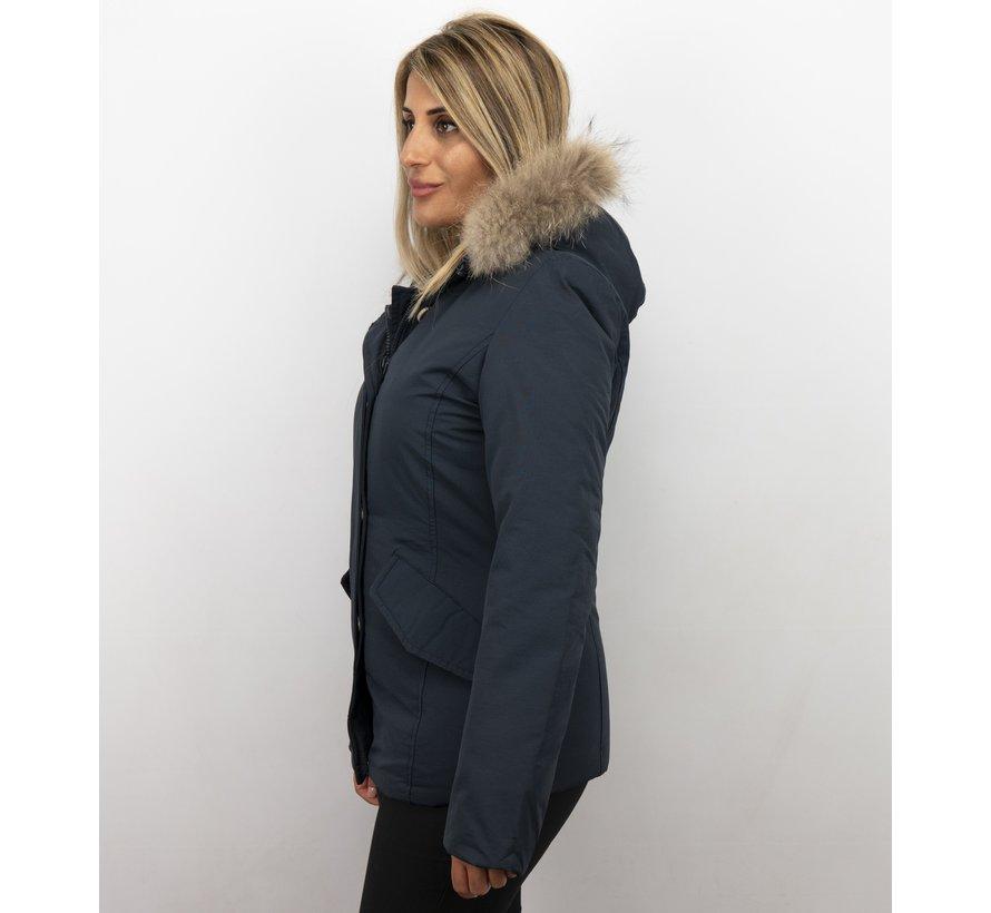 Korte Vrouwen Winterjas - Grote BontKraag - Blauw