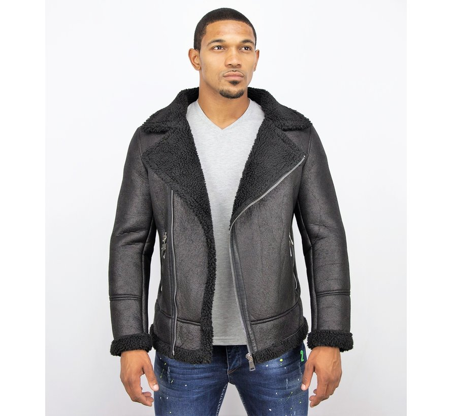 Imitatie Lammy Coat Heren Winterjas - Zwart