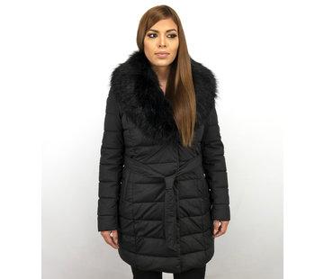 Macleria Parka Slim Fit Dames Winterjas – Met Zwarte Nep Bontkraag – Zwart
