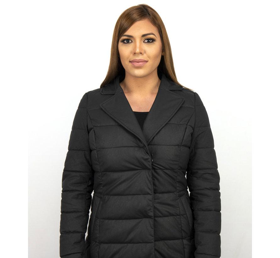 Parka Slim Fit Dames Winterjas – Met Zwarte Nep Bontkraag – Zwart
