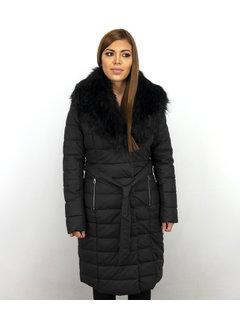 Macleria Extra Lange Winterjas Dames – Met Zwarte Nep Bontkraag – Zwart