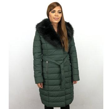 Macleria Lange Dames Winterjas – Met Zwarte Nep Bontkraag – Groen
