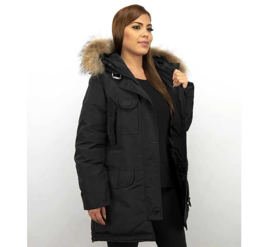 Dames Winterjas Met Echte Bontkraag - Lange Parka – Zwart
