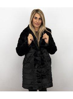 Save Style Lange Parka Bontjas Dames – Zwart