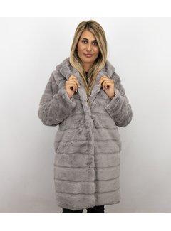 Save Style Parka Dames imitatie Bontjas – Lila