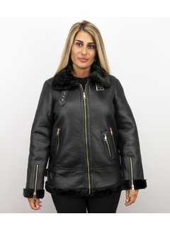 Z-design Zwarte  Dames Lammy Coat winterjas
