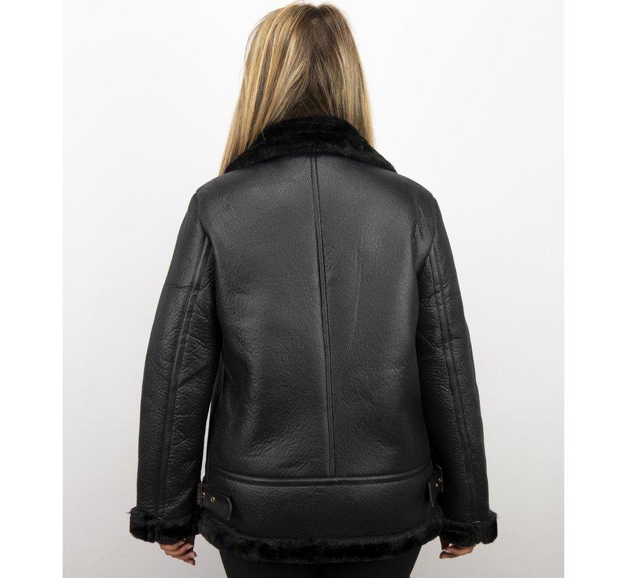 Zwarte  Dames Lammy Coat winterjas