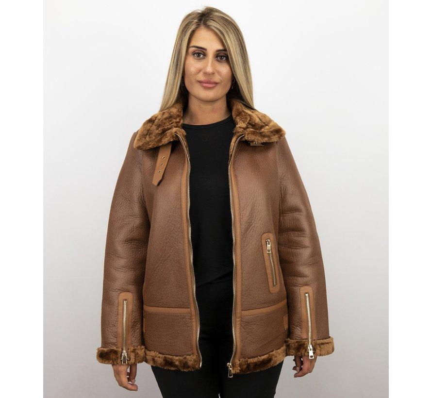 Lammy Coat Dames Winterjas – Bruin