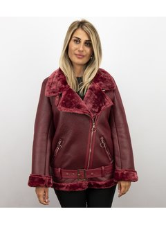 Z-design Korte Lammy Coat Dames Winterjas - Bordeaux