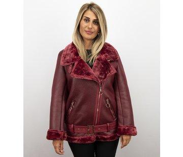 Z-design Korte Lammy Coat Dames Winterjas - Bordeaux