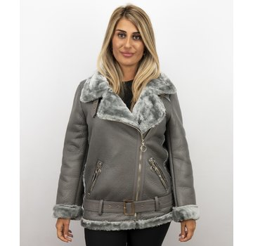 Z-design Lammy Coat Dames Kort – Grijs